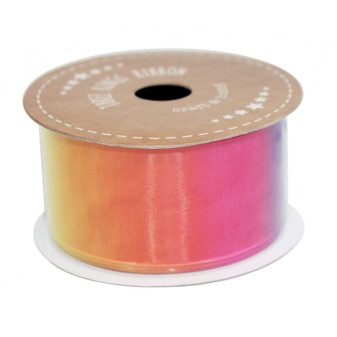 The Cake Decorating Co. 38mm Rainbow Organza Ribbon - 3 Metres