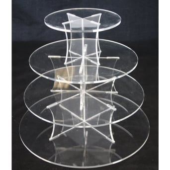 4 Tier Round Perspex Cupcake Stand 4mm
