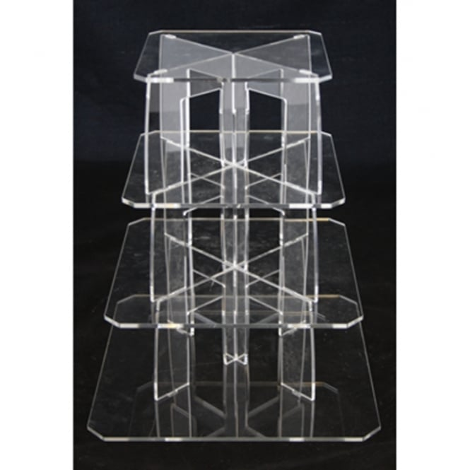 The Cake Decorating Co. 4 Tier Square Perspex Cupcake Stand 4mm