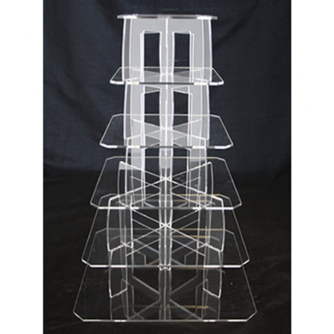 The Cake Decorating Co. 6 Tier Square Perspex Cupcake Stand 4mm