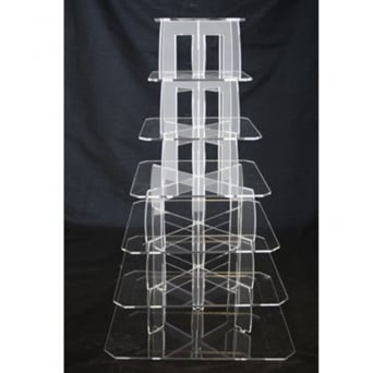 7 Tier Square Perspex Cupcake Stand 4mm