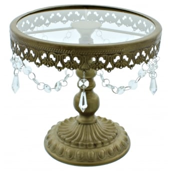 9.5 Inch Gold Shabby Chic Cake Stand