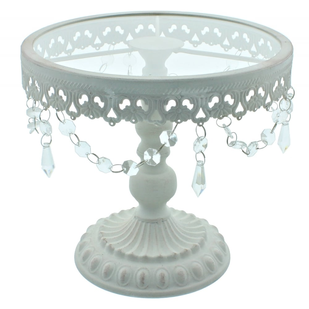 9.5 Inch White Shabby Chic Cake Stand | Vintage Glamour ...