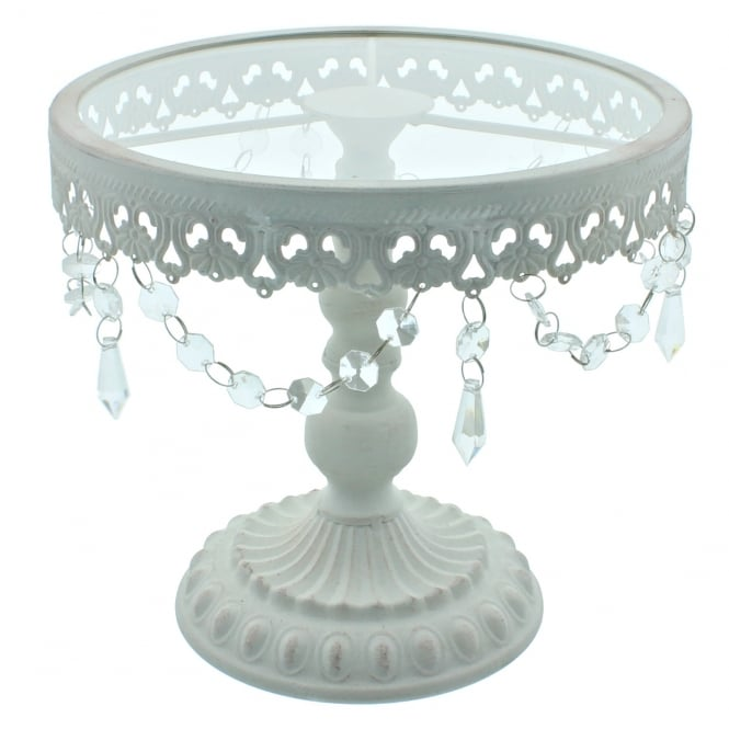 The Cake Decorating Co. 9.5 Inch White Shabby Chic Cake Stand