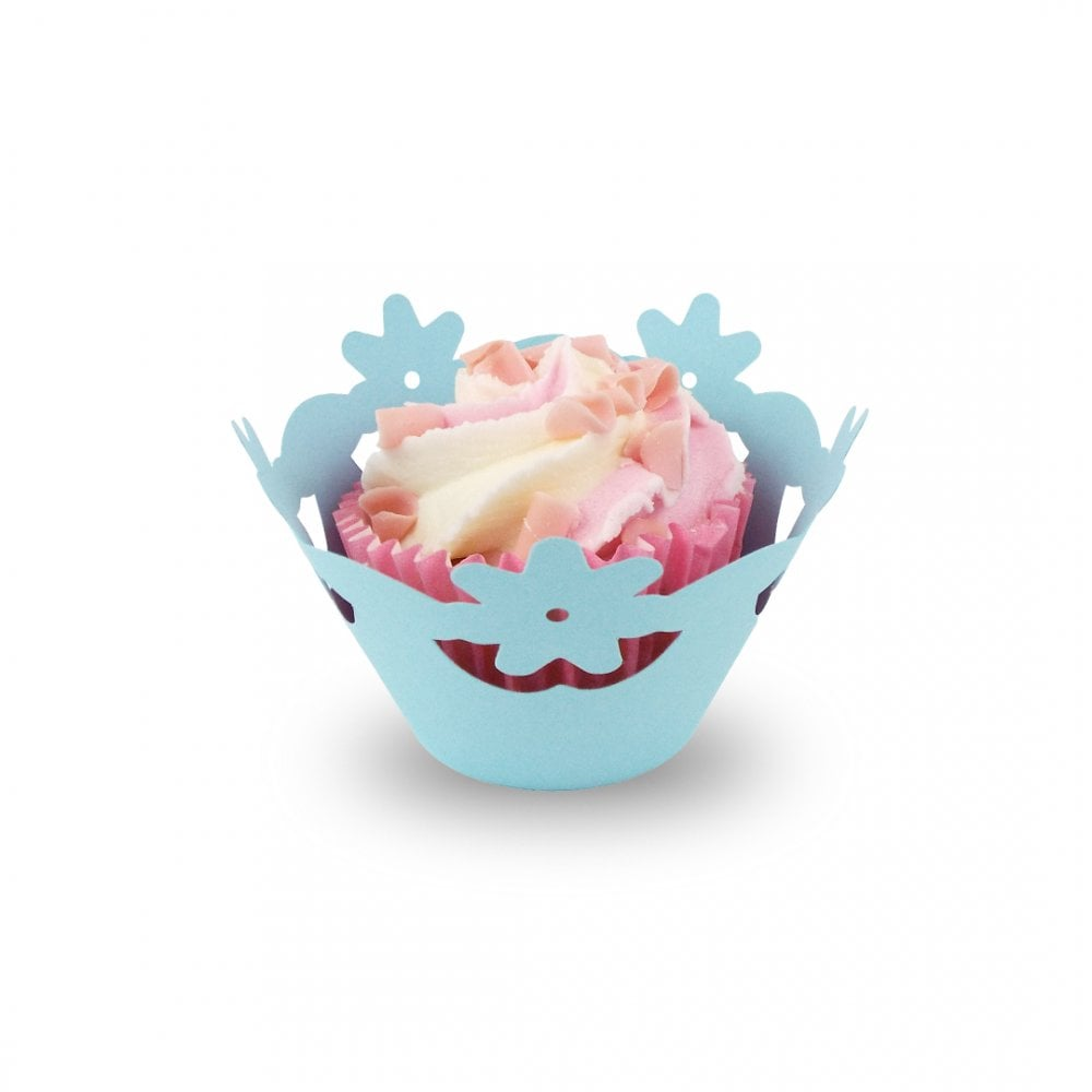 Baby Blue Floral Cupcake Wrapper X 12