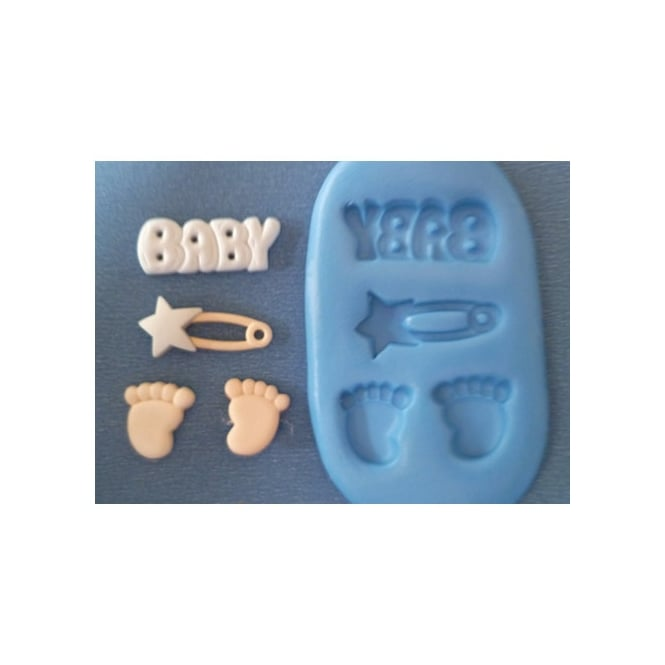 The Cake Decorating Co. Baby Feet And Star Pin Silicone Mould