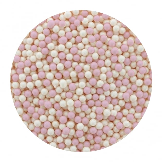 The Cake Decorating Co. Baby Pink/White - 4mm Edible Pearls - 500g