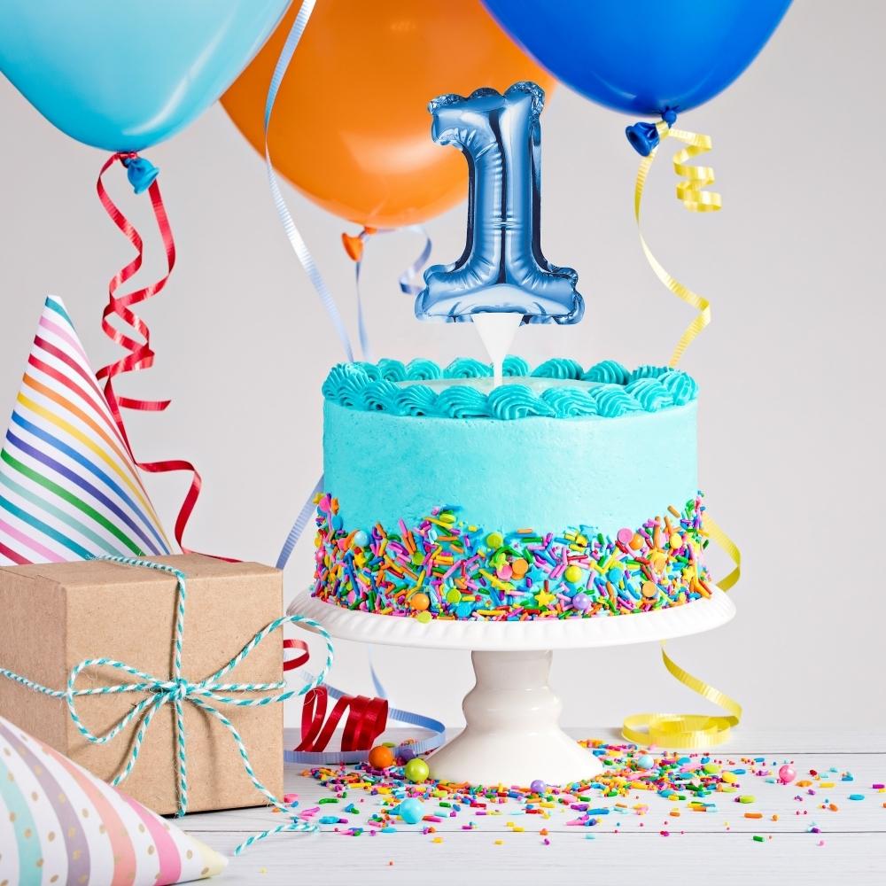 Marvelous Blue Self Inflating Mini Balloon Cake Topper Blue Birthday Numbers Personalised Birthday Cards Veneteletsinfo