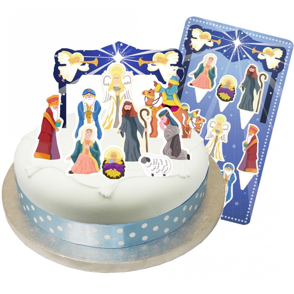 The Cake Decorating Co Christmas Nativity Pop Out Toppers X 10