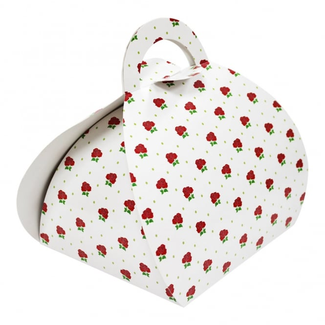 The Cake Decorating Co. Cupcake Handbag Box Holds 4 - Red Flowers x 10