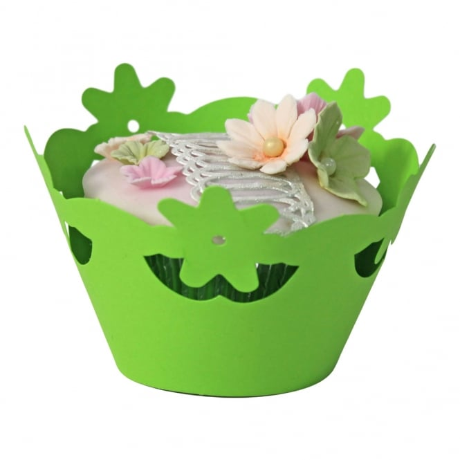 The Cake Decorating Co. Cupcake Wrapper - Green Floral x 12