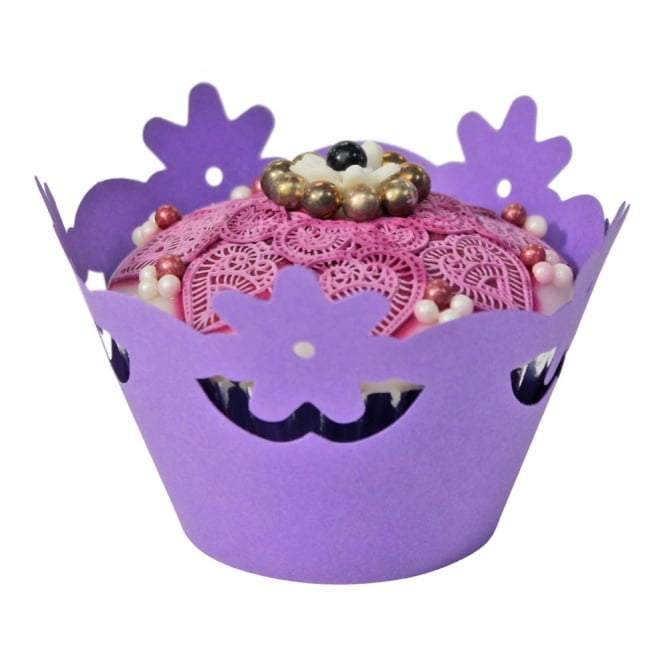 The Cake Decorating Co. Cupcake Wrapper - Purple Floral x 12