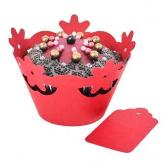 Cupcake Wrapper - Red Floral x 12