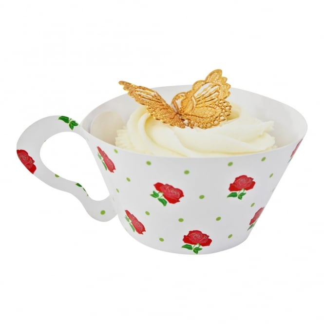 The Cake Decorating Co. Cupcake Wrapper - Red Rose Teacup x 12