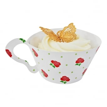 Cupcake Wrapper - Red Rose Teacup x 12