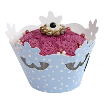 Cupcake Wrapper - Spotty Blue Floral x 12