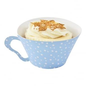 Cupcake Wrapper - Spotty Blue Teacup x 12