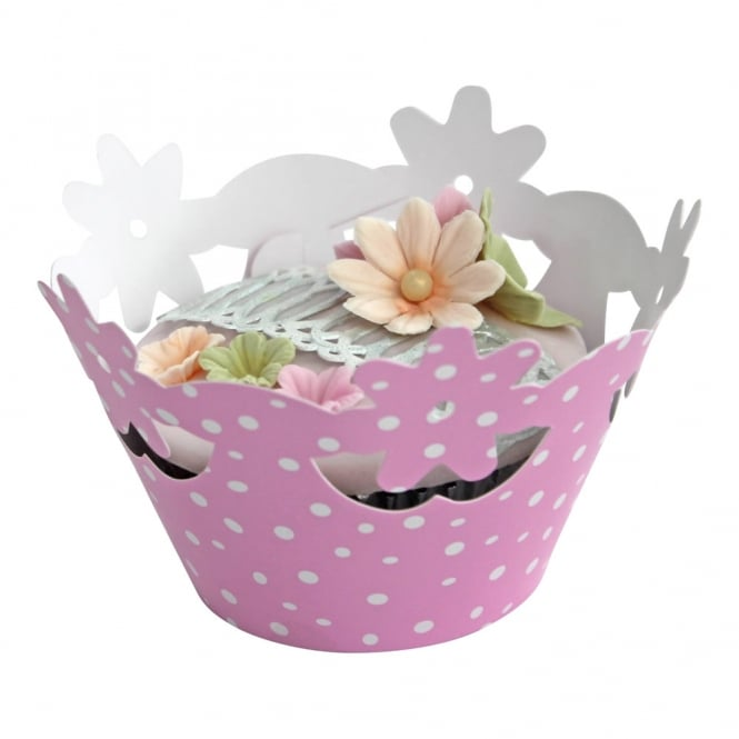 The Cake Decorating Co. Cupcake Wrapper - Spotty Pink Floral x 12