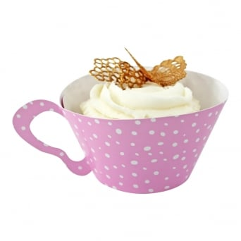 Cupcake Wrapper - Spotty Pink Teacup x 12