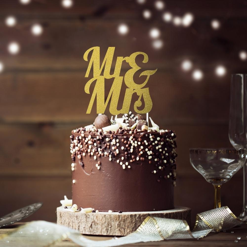 Mr /& Mrs Gold Glitter Cake Topper Decoration