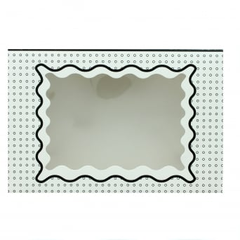 Holds 12 Luxury Satin Cupcake Box - White With Black Circles