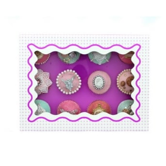 Holds 12 Luxury Satin Cupcake Box - White With Purple Circles