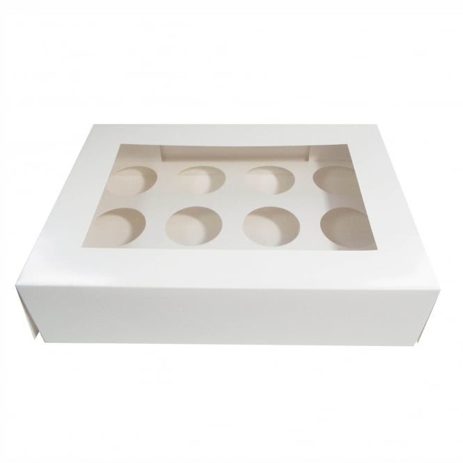 The Cake Decorating Co. Holds 12 Luxury Satin White Cupcake Box With Window