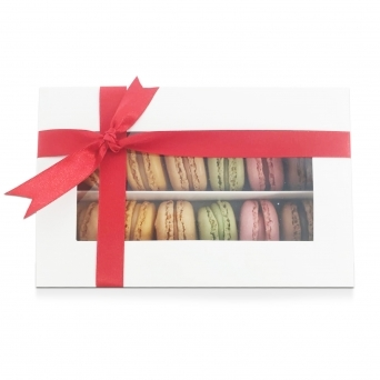 Holds 12 Luxury Satin White Macaron Box With Sleeve