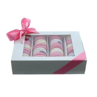 Holds 24 Luxury Satin White Macaron Box With Sleeve