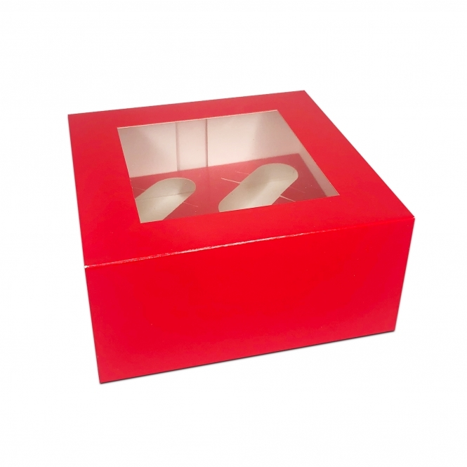 The Cake Decorating Co. Holds 4 Luxury Satin Cupcake Box - Red