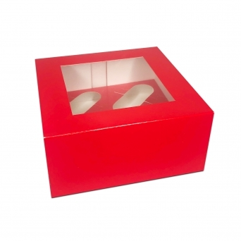 Holds 4 Luxury Satin Cupcake Box - Red