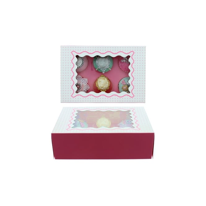 The Cake Decorating Co. Holds 6 Luxury Satin Cupcake Box - White With Baby Pink Circles