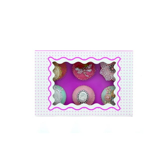 The Cake Decorating Co. Holds 6 Luxury Satin Cupcake Box - White With Purple Circles