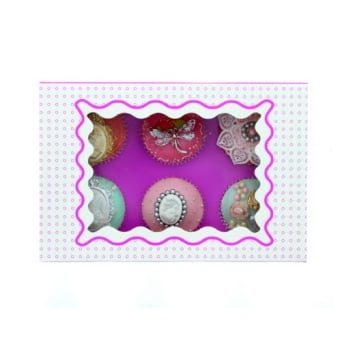 Holds 6 Luxury Satin Cupcake Box - White With Purple Circles