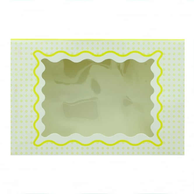 The Cake Decorating Co. Holds 6 Luxury Satin Cupcake Box - White With Yellow Circles