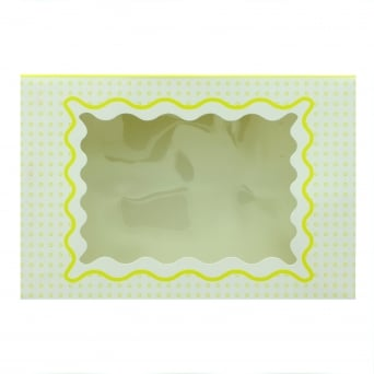 Holds 6 Luxury Satin Cupcake Box - White With Yellow Circles