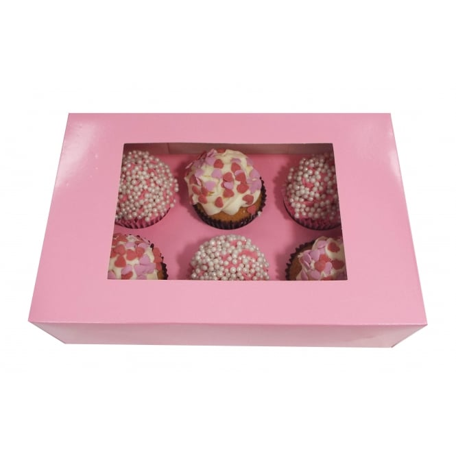 The Cake Decorating Co. Holds 6 Luxury Satin Pink Cupcake Box With Window x1