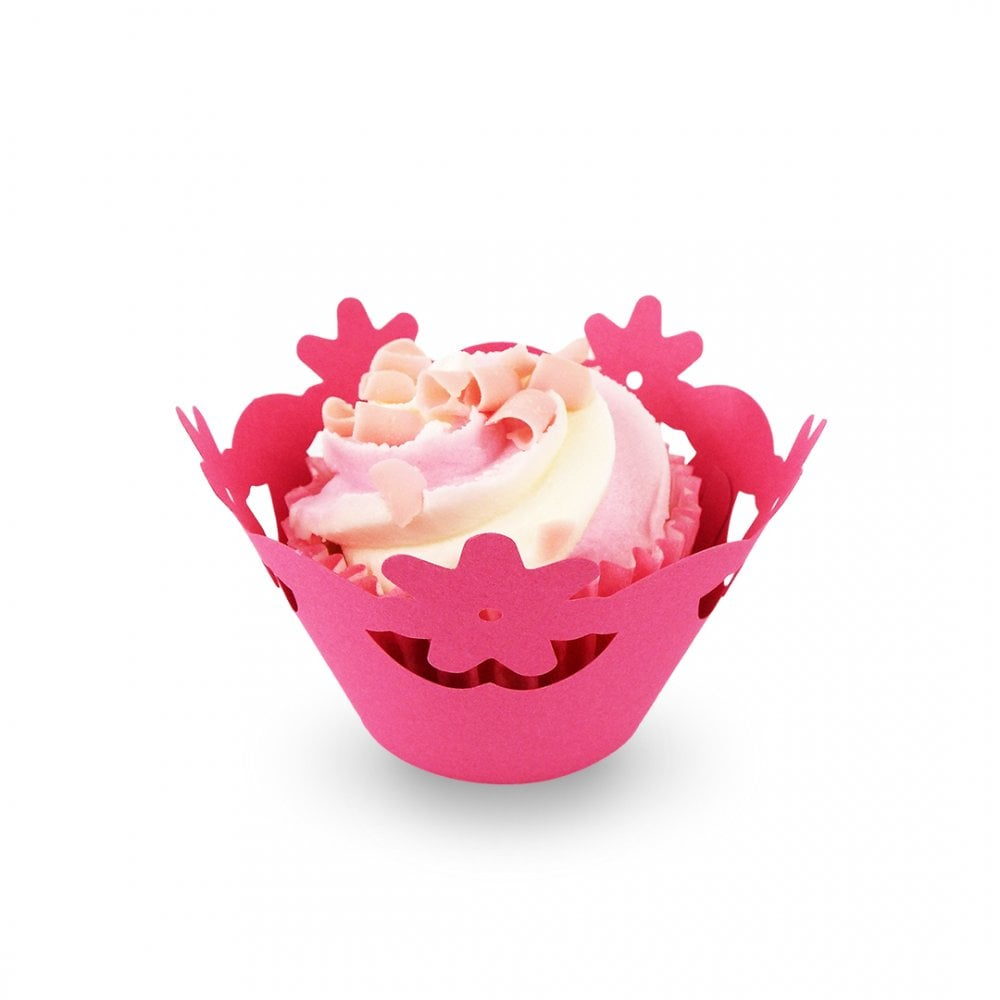 Hot Pink Floral Cupcake Wrapper X 12