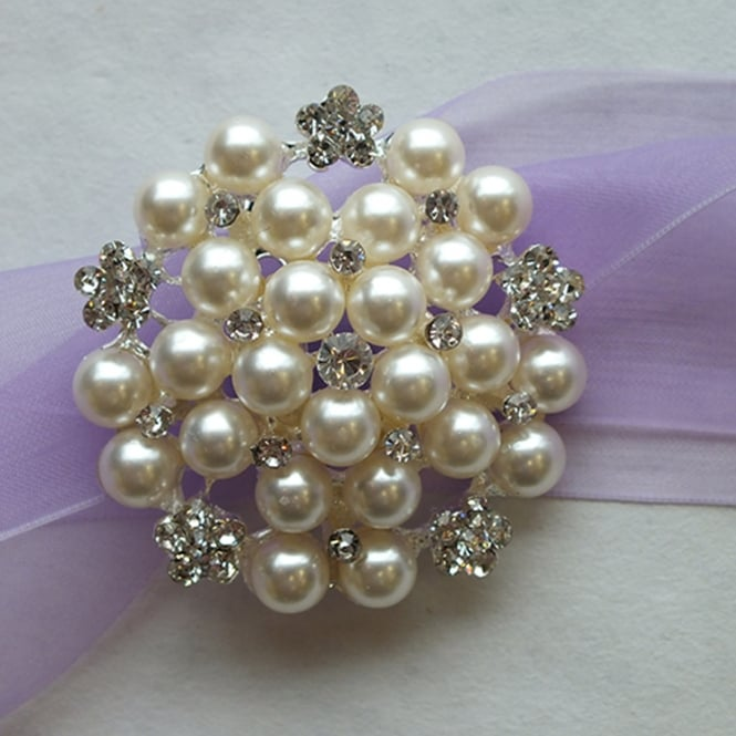 The Cake Decorating Co. Large 50mm Pearl And Crystal Diamante Brooch Decoration