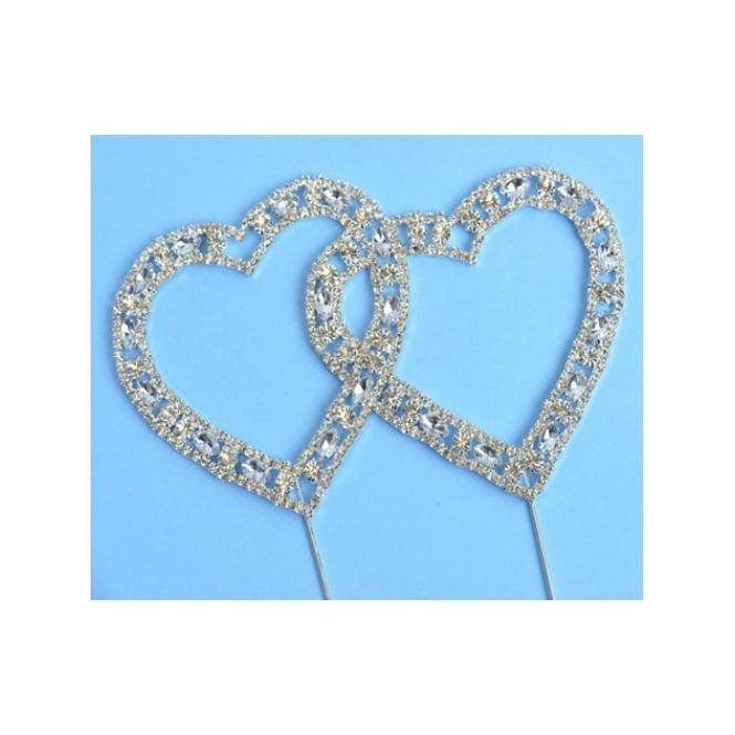 The Cake Decorating Co. Large Double Pin Crystal Diamante Hearts Decoration