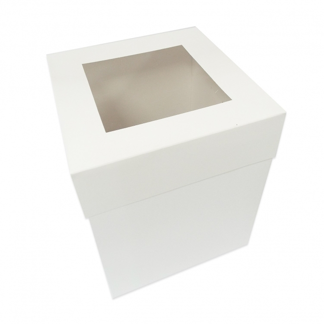 The Cake Decorating Co. Luxury Satin Finish Extra Deep Cake Box With Window - Choose A Size
