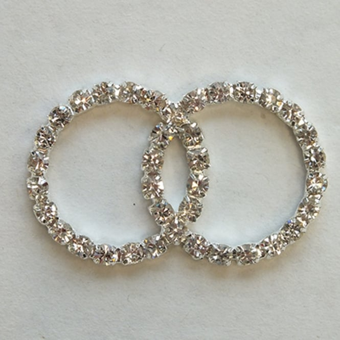 The Cake Decorating Co. Medium Double Circle Crystal Diamante Buckle Decoration