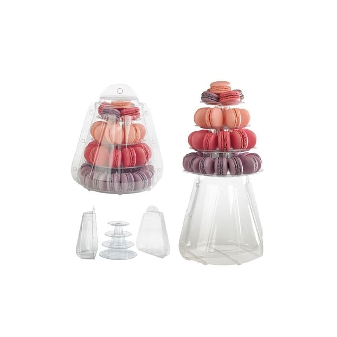 The Cake Decorating Co. Mini Macaron Pyramid Display Stand 4 Tiers