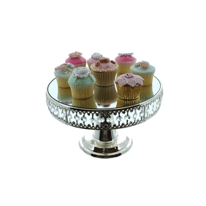 The Cake Decorating Co. Mirrored Cake Stand With Crystal Border