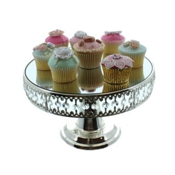 Mirrored Cake Stand With Crystal Border