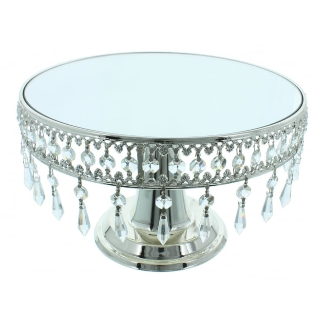 The Cake Decorating Co. Mirrored Cake Stand With Removable Hanging Crystals