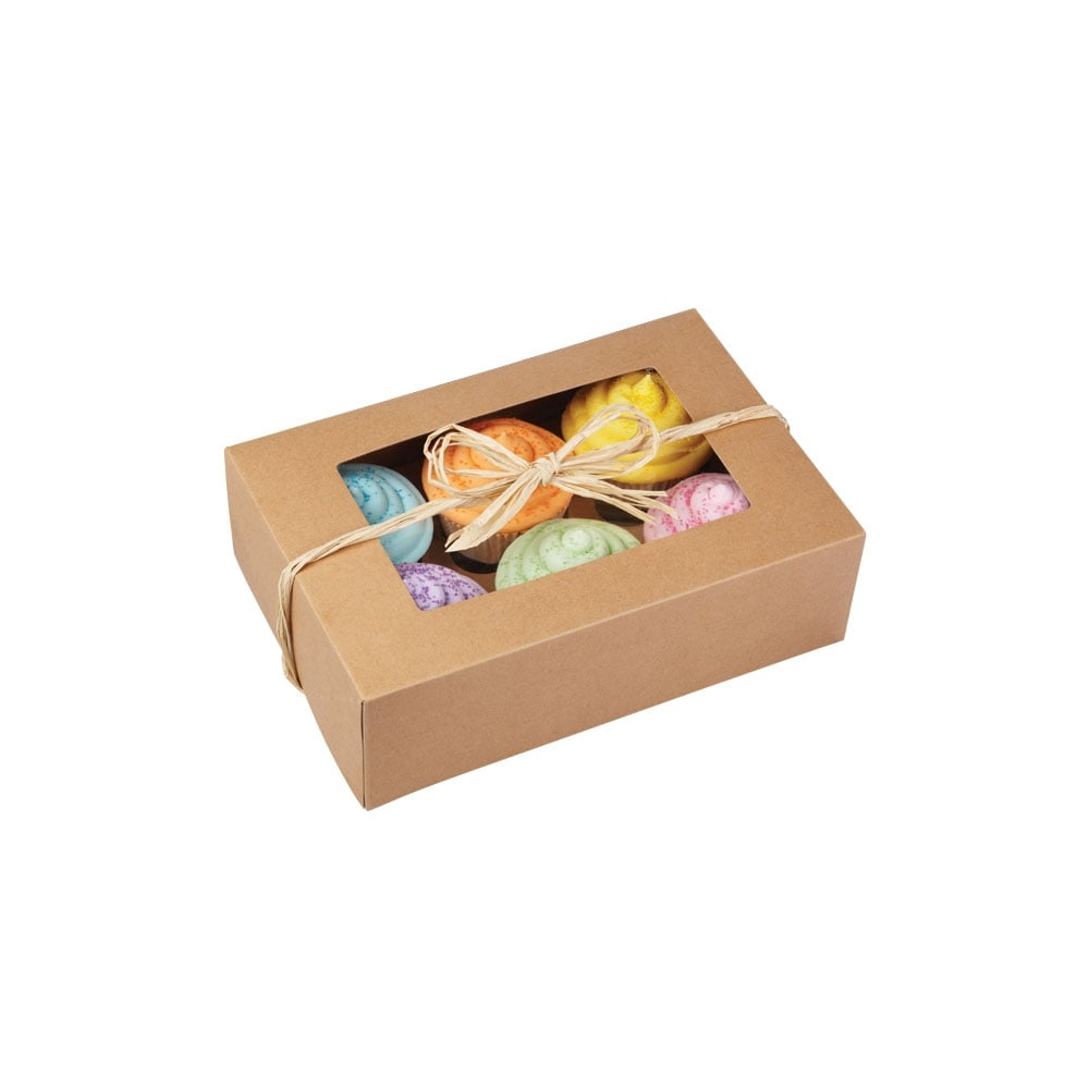 Plain Kraft Holds 6 Cupcake Box Card Effect Vintage