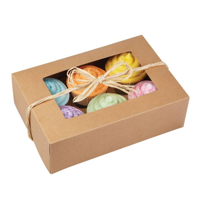 The Cake Decorating Co. Plain Kraft Holds 6 Cupcake Box