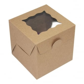 Plain Kraft Single Cupcake Box