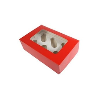 Plain Satin Red Holds 6 Cupcake Box
